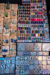 Tiles and glasses in Marrakech souk, Morocco