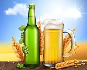 Vector realistic unlabeled glass green bottle and mug with cold foamy light beer stand on a wooden table with ears of barley and cones of hops near the grass field. Poster template for craft beer ad