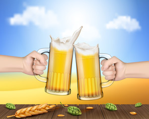 Two vector realistic hands holding glass mugs with beer raised in a festive toast over a wooden table with ears of barley and cones of hops. Two pints of cold foamy craft light beer