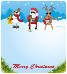Christmas card. Santa Claus, snowman and deer saxophone plays the guitar. choice for congratulations