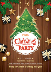 Merry christmas party and tree on wooden background invitation theme concept. Happy holiday greeting banner and card design template.