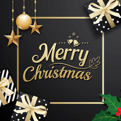 Gold merry christmas decoration ornament with gift box on black background. Premium luxury for holiday greeting card.