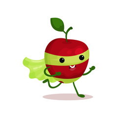 Cartoon character of funny superhero apple with cape and mask, running forward