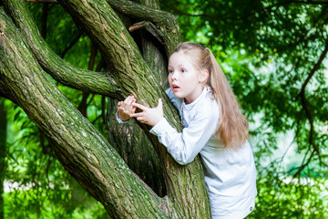 Girl climbs in Park on a tree in the summer