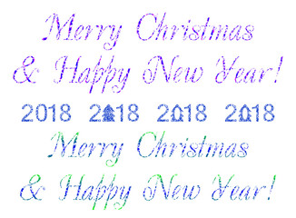 Decorative text Merry Christmas & Happy New Year on a blue and white background