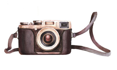 watercolor camera isolated on white background