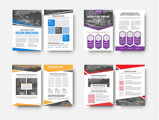 Design white vector flyers templates with space for photos and different geometric elements