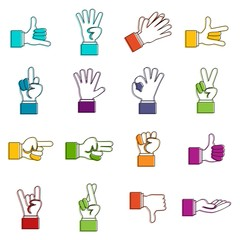 Hand gesture icons doodle set