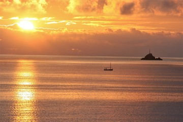 sunset, Views of Ibiza Balearic Islands, blue sea,Mediterranean sea, favorite destination of foreign tourists in Spain