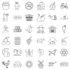 Housekeeping icons set, outline style