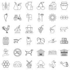 Housecraft icons set, outline style