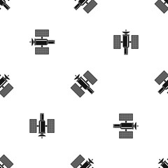 Space satellite pattern seamless black