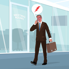 Angry businessman in business suit goes in office with briefcase in his hand and swears by phone. Face red from outrage. Pictogram of lightning emotion in bubble
