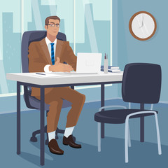 Young businessman or manager sitting at table in modern office and gesturing his hands to chair for visitors. Interview or hiring concept. Simplistic realistic style