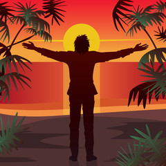 Young man stands at sunset, on beach in front of ocean, with open arms outstretched. Silhouette against setting sun. Simplistic realistic comic art style