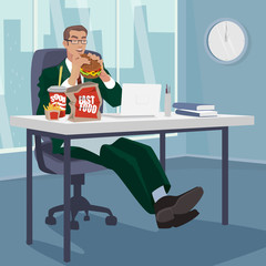 Happy businessman or manager snacking fast food in workplace. Man eating at table in modern office. Lunch or junk food concept. Simplistic realistic style
