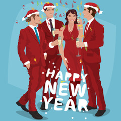 Fashionable men in red suits and Santa hats and woman in red dress, celebrate New Year Eve. Office Christmas party concept. Simplified realistic comic art style