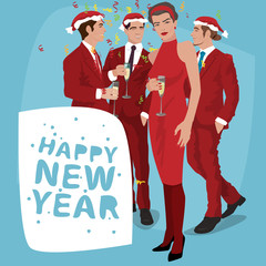 Several fashionable young men in Santa hats and women, in red suits are celebrating New Year holiday. Lettering Happy New Year. Simplistic realistic cartoon art style
