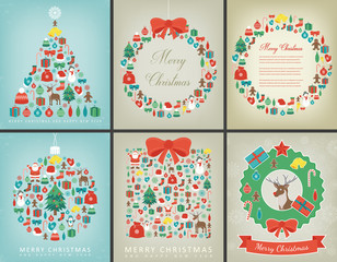 Christmas greeting card set with Merry Christmas and Happy New Year wishes. Holidays winter collection. Vector