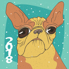 Ridiculous portrait of funny dog, breed French bulldog, yellow color. Lettering 2018. Zodiac sign of new year according to the Chinese calendar. Snow background