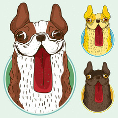Set of funny French bulldog dogs, different colors and same style, in round frame. Stickers with symbols of zodiac sign of 2018 new year