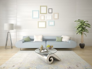 Mock up a modern living room with a stylish sofas light background.