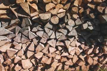 Firewood for the winter, stacks of firewood