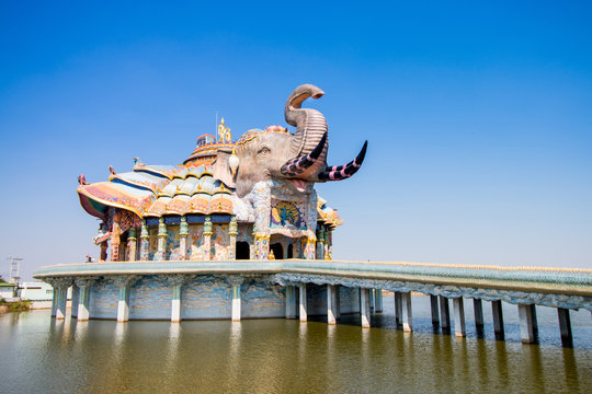 buddhist temple on blue sky in thailand