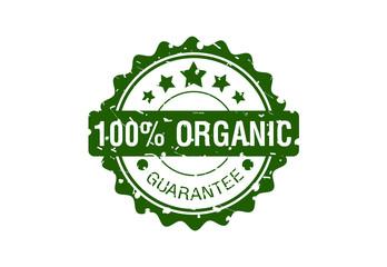 100% organic stamp design logo