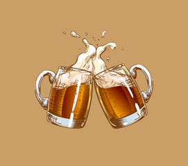 Two Mugs of Beer clink at a toast with a splash of beer foam. Applicable for design menu restaurants, pub, bars, posters for the Oktoberfest, craft brewing, banners. Color Vector on a beige background
