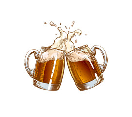 Two Mugs of Beer clink at a toast with a splash of beer foam. Illustration for design menu restaurants, pubs, bars, posters for the Oktoberfest, craft brewing, banners. Color isolated Vector sketch