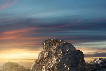 Bergspitze im Sonnenlicht. 3d Rendering