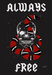 Always free type in rock metal style fashion graphic design with skull and snake vector illustration for fashion t-shirt clothes apparel decoration