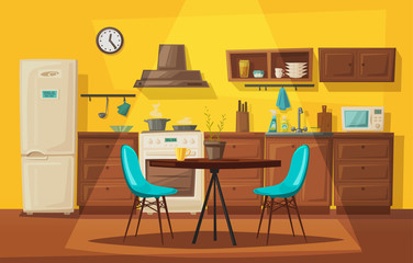 Kitchen interior with furniture. Cartoon vector illustration