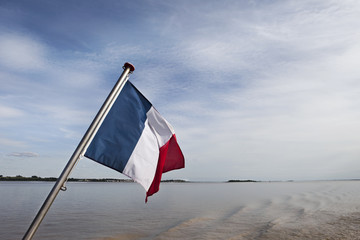French flag on a ship