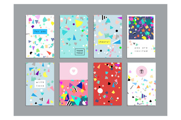 Collection of party cards and invitations. Holiday and Birthday backgrounds with confetti. Vector