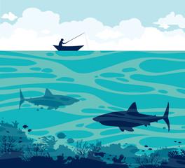 Angler and sharks on a sea.