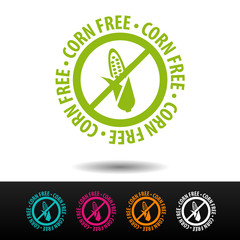 Wall Mural - Corn free badge, logo, icon. Flat vector illustration on white background. Can be used business company.