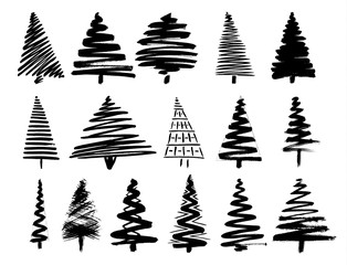 Christmas Tree Sketch Set Isolated on White Background.