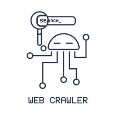 Isolated robot icon in a linear flat style. The concept of  web crawler