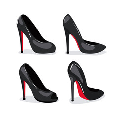 heeled shoes realistic in color on white background