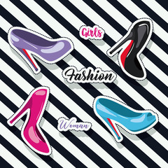 colorful heeled shoes sticker and text of girls fashion woman on pop art diagonal linear background