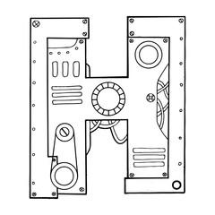 Mechanical letter H engraving vector illustration