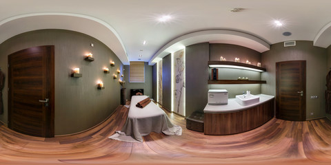 Full 360 panorama in equirectangular spherical projection in stylish beauty saloon. Photorealistic VR content