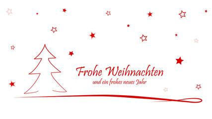 weihnachtliche Grußkarte mit Weihnachtsbaum und Sternen