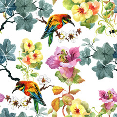 Foto op Canvas Papegaai Watercolor hand drawn seamless pattern with beautiful flowers and colorful birds on white background.