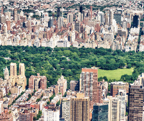 Fototapete - Helicopter view of Midtown skyscrapers and Central Park, New York City
