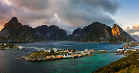 Wall Mural - Mount Olstind above the Sakrisoy fishing village, Lofoten, Norway