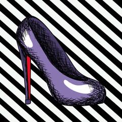 purple heel shoe sketch in pop art on black diagonal striped background