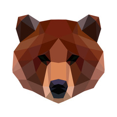 Vector polygonal bear isolated on white.